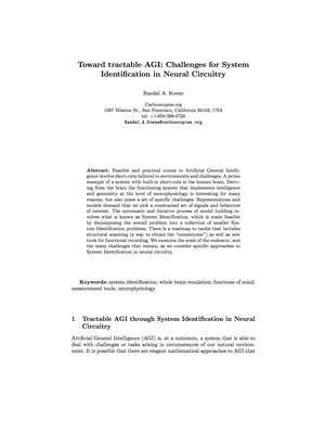 Toward tractable AGI: Challenges for System Identification in Neural Circuitry